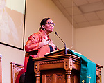 February 10, 2017. Raleigh, North Carolina.<br />  <br /> Lisa Sharon Harper, Chief Church Engagement Officer<br /> of Sojourners speaks from the podium at a pre-HKONJ service at Rush Metropolitan A.M.E. Zion Church. <br /> <br /> On the evening before the annual HKONJ People's Assembly, a civil rights march tied to the Moral Monday movement, religious leaders from around the country gathered at Rush Metropolitan A.M.E. Zion Church to rally their supporters and speak out against nationwide attacks on civil rights and the Trump administration.<br /> <br /> Jeremy M. Lange for The New York Times