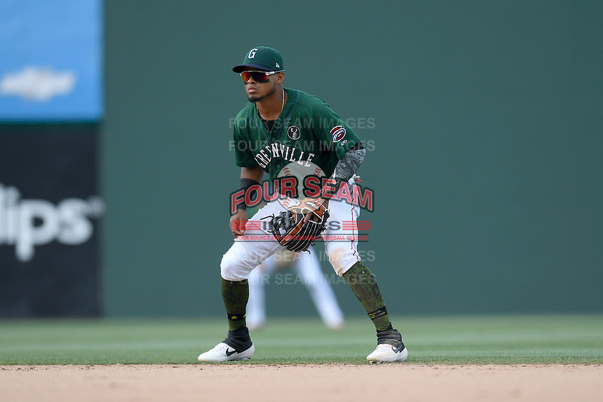 Second baseman Kervin Suarez (36) of the Greenville Drive plays defense in a game against the West Virginia Power on Sunday, May 19, 2019, at Fluor Field at the West End in Greenville, South Carolina. Greenville won, 8-4. (Tom Priddy/Four Seam Images)