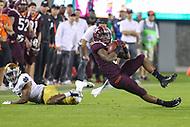 Blacksburg, VA - October 6, 2018: Virginia Tech Hokies wide receiver Hezekiah Grimsley (6) catches a pass during the game between Notre Dame and VA Tech at  Lane Stadium in Blacksburg, VA.   (Photo by Elliott Brown/Media Images International)