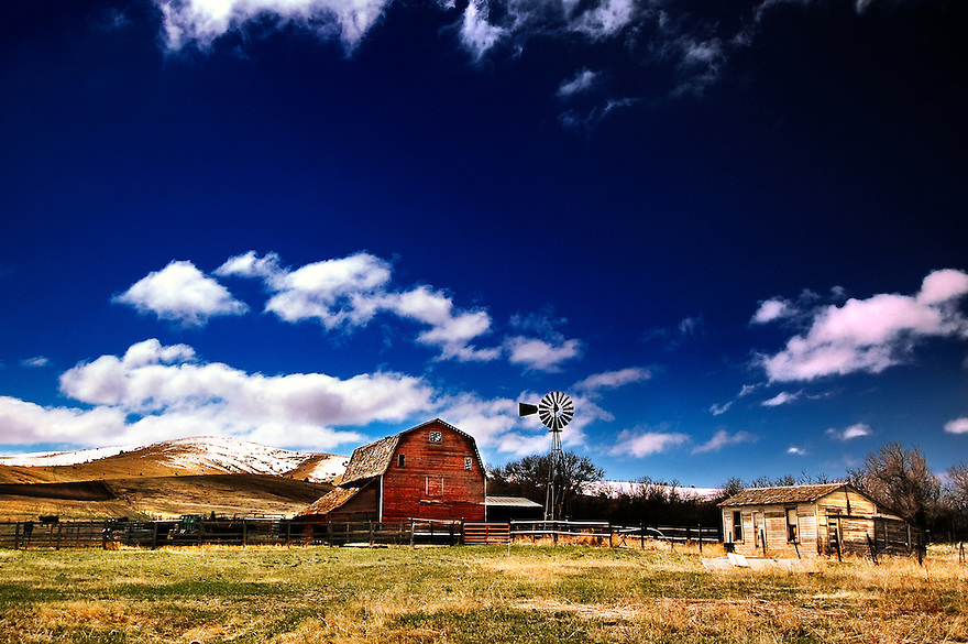 An old farm is seen in Gallatin County near Bozeman, Montana.