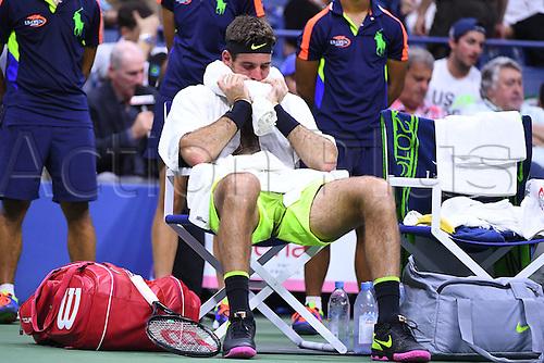 07.09.2016. Flushing Meadows, New York, USA. Mens singles quarterfinal match, Stan Wawrinka (sui) versus Juan Martin Del Potro (ARG).  Juan Martin Del Potro (ARG)on his way to losing in 4 sets