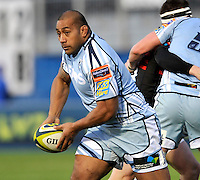 Hendon, England. Taufa'ao Filise of Cardiff Blues in action during the LV= Cup match for the first professional rugby game on the artificial turf pitch made for rugby between Saracens and Cardiff Blues at Allianz Park Stadium on January 27, 2013 in Hendon, England.