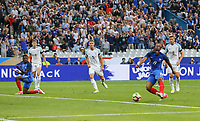 England defence can only watch as Djibril Sidibe (Monaco) of France scores a goal to make it 2 1 during the International Friendly match between France and England at Stade de France, Paris, France on 13 June 2017. Photo by David Horn/PRiME Media Images.