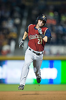 Nick Noonan (21) of the Scranton/Wilkes-Barre RailRiders hustles towards third base against the Durham Bulls at Durham Bulls Athletic Park on May 15, 2015 in Durham, North Carolina.  The RailRiders defeated the Bulls 8-4 in 11 innings.  (Brian Westerholt/Four Seam Images)