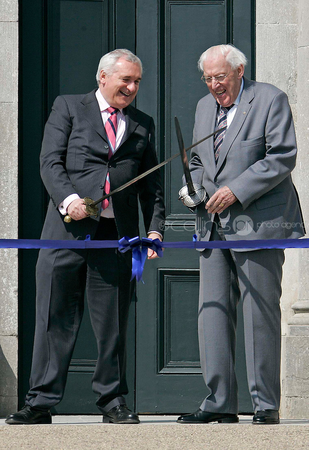06/05/'08 Taoiseach Bertie Ahern with Dr. Ian Paisley  at the official opening of the Oldbridge Estate in Co. Meath, the site of the Battle of the Boyne, by the Taoiseach and Dr. Ian Paisley...Picture Collins, Dublin, Colin Keegan.