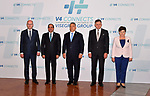 Participants of a summit of the Visegrad group countries (V4) and Egypt, (L to R) Prime Minister of the Czech Republic Bohuslav Sobotka, Egyptian President Abdel Fattah al-Sisi, Hungarian Pime Minister Viktor Orban, Slovakian Prime Minister Robert Fico and Polish Prime Minister Beata Szydlo pose for a photo in Budapest on July 4, 2017. Photo by Egyptian President Office