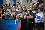 25 MAR 2011: The UW LaCrosse swim team cheers on Junior Danielle Ellingson in the 100 yard backstroke during the Division III Men's and Women's Swimming and Diving Championship held at the Allan Jones Aquatic Center in Knoxville, TN. David Weinhold/NCAA Photos