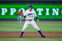 Alex Call (6) of the Winston-Salem Dash takes his lead off of second base against the Buies Creek Astros at BB&T Ballpark on April 13, 2017 in Winston-Salem, North Carolina.  The Dash defeated the Astros 7-1.  (Brian Westerholt/Four Seam Images)