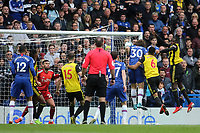 David Luiz scores Chelsea's second goal with a fine header during Chelsea vs Watford, Premier League Football at Stamford Bridge on 5th May 2019