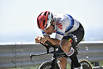 European Champion Victor Campenaerts (BEL) Lotto Soudal recons the course before Stage 21 the final stage of the 2019 Giro d'Italia, an individual time trial running 17km from Verona to Verona, Italy. 2nd June 2019<br /> Picture: Fabio Ferrari/LaPresse | Cyclefile<br /> <br /> All photos usage must carry mandatory copyright credit (© Cyclefile | Fabio Ferrari/LaPresse)
