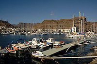 Yachts at moorings, Puerto Mogan, Gran Canaria, Canary Islands, Spain