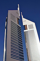 Dubai, United Arab Emirates.  Emirates Towers. Modern office block and restaurants near Abu Dhabi Road..