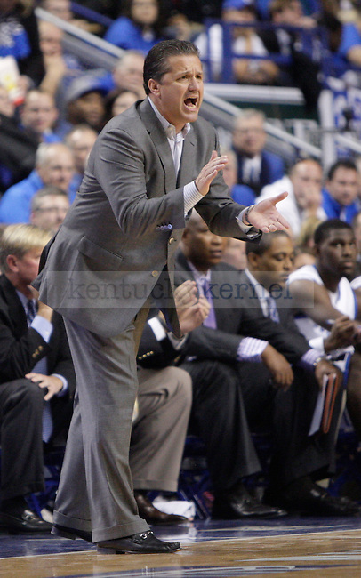 UK's John Calipari during the first half of the UK men's basketball game vs. Transylvania University at Rupp Arena in Lexington, Ky., on Monday, November 5, 2012. Photo by Tessa Lighty | Staff
