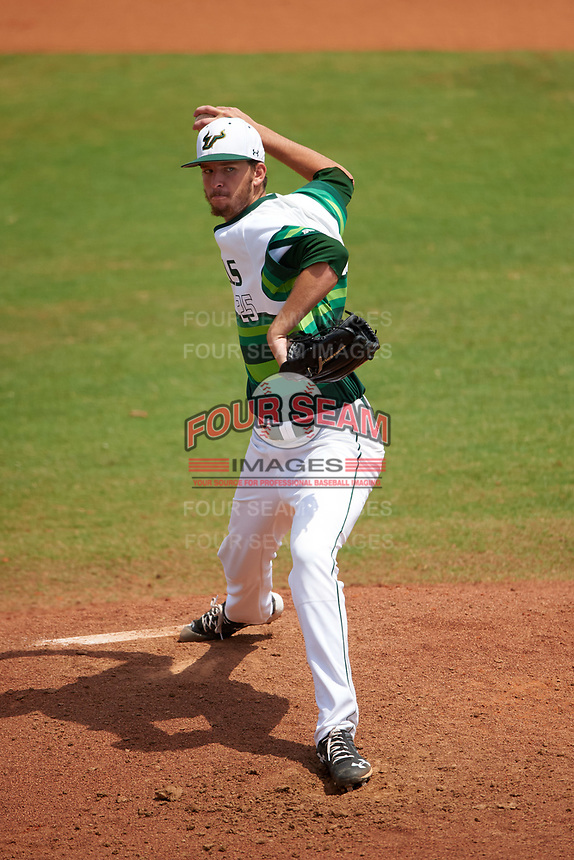South Florida Bulls starting pitcher Joe Cavallaro (25) delivers a pitch during a game against the Dartmouth Big Green on March 27, 2016 at USF Baseball Stadium in Tampa, Florida.  South Florida defeated Dartmouth 4-0.  (Mike Janes/Four Seam Images)
