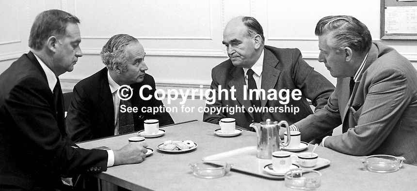 Philip Goodhart, MP, Conservative Party, UK, (second from left) meets leaders of the various unionist parties for talks at Parliament Buildings, Stormont, Belfast. From left: Bill Craig, Vanguard Unionist, Harry West, Ulster Unionist, and Rev Ian Paisley, Democratic Unionist. 197408280465a.<br /> <br /> Copyright Image from Victor Patterson,<br /> 54 Dorchester Park, Belfast, UK, BT9 6RJ<br /> <br /> t1: +44 28 90661296<br /> t2: +44 28 90022446<br /> m: +44 7802 353836<br /> <br /> e1: victorpatterson@me.com<br /> e2: victorpatterson@gmail.com<br /> <br /> For my Terms and Conditions of Use go to<br /> www.victorpatterson.com