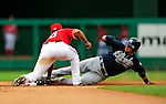 5 July 2009: Atlanta Braves' infielder Martin Prado is out at second against the Washington Nationals at Nationals Park in Washington, DC. The Nationals defeated the Braves 5-3, to take the rubber game of their 3-game weekend series. Mandatory Credit: Ed Wolfstein Photo