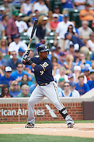 Milwaukee Brewers shortstop Jean Segura (9) at bat during a game against the Chicago Cubs on August 13, 2015 at Wrigley Field in Chicago, Illinois.  Chicago defeated Milwaukee 9-2.  (Mike Janes/Four Seam Images)