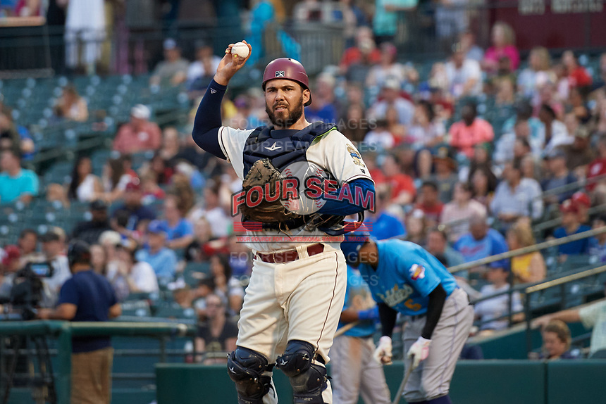 Frisco RoughRiders catcher Tony Sanchez (55) during a Texas League game against the Amarillo Sod Poodles on May 17, 2019 at Dr Pepper Ballpark in Frisco, Texas.  (Mike Augustin/Four Seam Images)