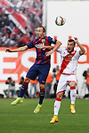 Rayo Vallecano´s  and Barcelona´s Iniesta (L) during La Liga match between Rayo Vallecano and Barcelona at Vallecas stadium in Madrid, Spain. October 04, 2014. (ALTERPHOTOS/Victor Blanco)