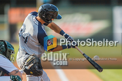 30 July 2016: Brooklyn Cyclones outfielder Jacob Zanon connects during a game against the Vermont Lake Monsters at Centennial Field in Burlington, Vermont. The Lake Monsters defeated the Cyclones 7-1 in NY Penn League play. Mandatory Credit: Ed Wolfstein Photo *** RAW (NEF) Image File Available ***