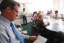 Staffers attend the daily editorial meeting at The Times-Picayune in New Orleans, Wednesday, April 5, 2006..(Cheryl Gerber for New York Times)..