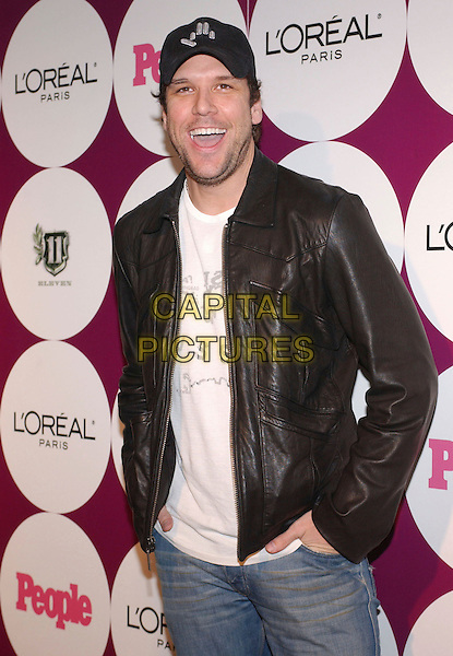 DANE COOK.People Magazine and Post Grammy Party held at ELEVEN, West Hollywood, California, USA..February 11th, 2007.half length black leather jacket baseball cap hat .CAP/ADM/RE.©Russ Elliot/AdMedia/Capital Pictures *** Local Caption *** .