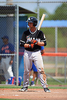 GCL Marlins first baseman Luis Munoz (14) at bat during the first game of a doubleheader against the GCL Mets on July 24, 2015 at the St. Lucie Sports Complex in St. Lucie, Florida.  GCL Marlins defeated the GCL Mets 5-4.  (Mike Janes/Four Seam Images)