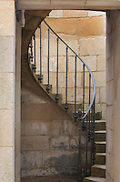 Staircase leading to the ground floor of the Phare de Cordouan or Cordouan Lighthouse, built 1584-1611 in Renaissance style by Louis de Foix, 1530-1604, French architect, located 7km at sea, near the mouth of the Gironde estuary, Aquitaine, France. This is the oldest lighthouse in France. There are 4 storeys, with keeper apartments and an entrance hall, King's apartments, chapel, secondary lantern and the lantern at the top at 68m. Parabolic lamps and lenses were added in the 18th and 19th centuries. The lighthouse is listed as a historic monument. Picture by Manuel Cohen