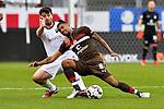 16.03.2019, BWT-Stadion am Hardtwald, Sandhausen, GER, 2. FBL, SV Sandhausen vs FC St. Pauli, <br /> <br /> DFL REGULATIONS PROHIBIT ANY USE OF PHOTOGRAPHS AS IMAGE SEQUENCES AND/OR QUASI-VIDEO.<br /> <br /> im Bild: Markus Karl (#23, SV Sandhausen) gegen Jeremy Dudziak (FC St. Pauli #8)<br /> <br /> Foto &copy; nordphoto / Fabisch