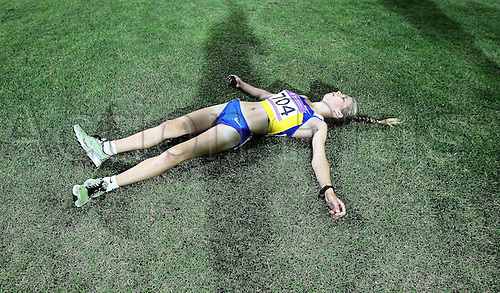 21 08 2010 Youth Olympic Games in Singapore, Athletics, Alina  of Ukraine celebrates After The Girls 5000m Walk Final A
