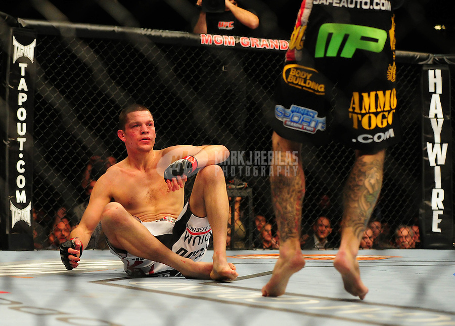 Dec. 30, 2011; Las Vegas, NV, USA; UFC fighter Nate Diaz during a lightweight bout at UFC 141 at the MGM Grand Garden event center. Mandatory Credit: Mark J. Rebilas-