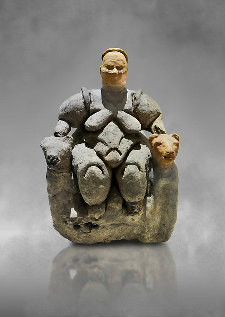 Terracotta Goddess figure which has been associated with agriculture & human fertility because of her big breasts and wide hips. She is depicted sitting between 2 leopards suggesting she was important. 5750 BC. . Catalhoyuk Collections. Museum of Anatolian Civilisations, Ankara. Against a gray mottled background