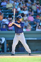Center fielder Tucker Tharp (5) of the Columbia Fireflies bats in a game against the Greenville Drive on Sunday, April 24, 2016, at Fluor Field at the West End in Greenville, South Carolina. Greenville won, 5-1. (Tom Priddy/Four Seam Images)