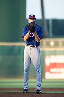 AZL Rangers starting pitcher Hans Crouse (55) looks to his catcher for the sign against the AZL Indians on August 26, 2017 at Goodyear Ball Park in Goodyear, Arizona. AZL Indians defeated the AZL Rangers 5-3. (Zachary Lucy/Four Seam Images)