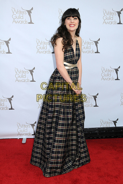 Zooey Deschanel.2012 Writers Guild Awards held at the Hollywood Palladium, Hollywood, California, USA..February 19th, 2012.full length black grey gray check plaid gold beige ribbon waist  side.CAP/ADM/BP.©Byron Purvis/AdMedia/Capital Pictures.