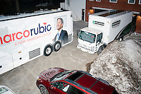 The campaign bus of Florida senator and Republican presidential candidate Marco Rubio stands in a parking lot while the candidate holds a town hall campaign event at Exeter Town Hall in Exeter, New Hampshire, on Tues. Feb. 2, 2016. The day before, Rubio placed third in the Iowa caucus.