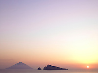 The stunning view from a terrace of the Panaraya Hotel in Sicily at sunset