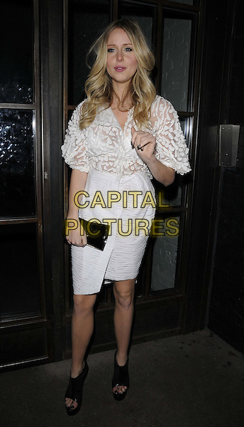 Diana Vickers.The InStyle Best Of British Talent party, Shoreditch House, Ebor St., London, England..January 26th, 2012.full length black white dress clutch bag open toe shoes hand.CAP/CAN.©Can Nguyen/Capital Pictures.
