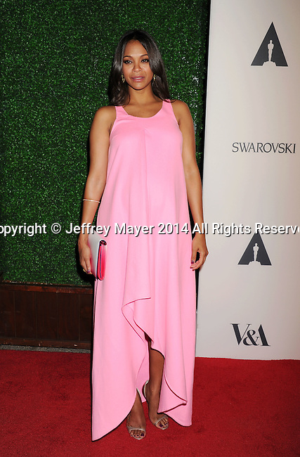 LOS ANGELES, CA- OCTOBER 01: Actress Zoe Saldana attends The Academy of Motion Picture Arts and Sciences' Hollywood Costume Opening Party at the Wilshire May Company Building on October 1, 2014 in Los Angeles, California.