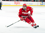 Wisconsin Badgers Gavin Hartzog (13) skates during an NCAA hockey game against the Alabama Huntsville Chargers at the Kohl Center in Madison, Wisconsin on October 15, 2010. The Badgers won 7-0. (Photo by David Stluka)