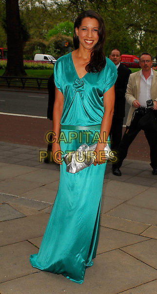 MARGHERITA TAYLOR.Arrivals at the Sony Radio Academy Awards 2006 at Grosvenor House Hotel, London, UK..May 8th, 2006.Ref: CAN.full length blue silver clutch purse dress satin.www.capitalpictures.com.sales@capitalpictures.com.© Capital Pictures.