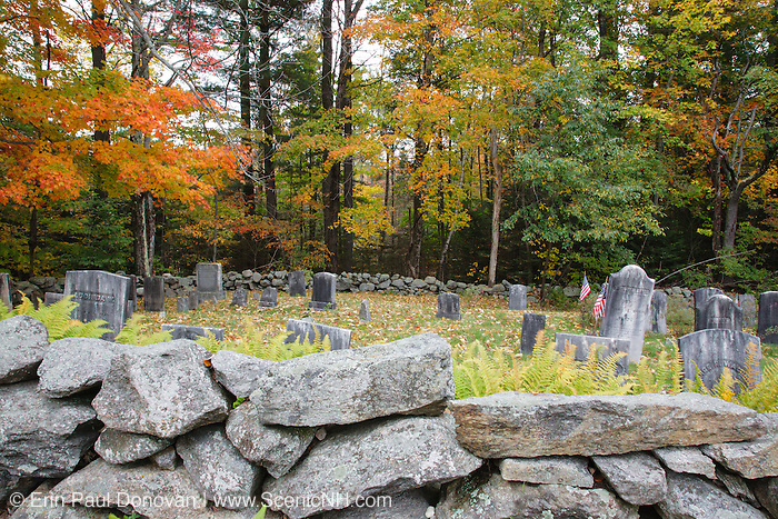 Old graveyard during the autumn months in the historical district of Dorchester, New Hampshire USA.