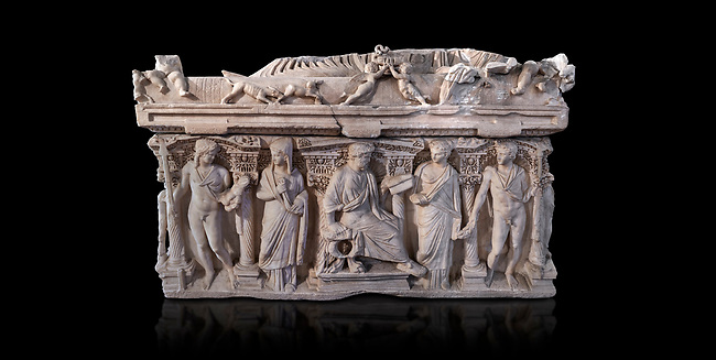 """Side panel of a Roman relief sculpted sarcophagus with kline couch lid, """"Columned Sarcophagi of Asia Minor"""" style typical of Sidamara, 3rd Century AD, Konya Archaeological Museum, Turkey. Against a black background"""