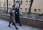 Chris Huhne and Carina Trimmingham, his partner,  arrive at Southwark Crown Court today 4.2.13...She and her former husband MP Chris Huhne are charged with perverting the course of justice....Vasiliki Pryce, née Courmouzis, is an economist, and former Joint Head of the United Kingdom's Government Economic Service......Pic by Gavin Rodgers/Pixel 8000 Ltd