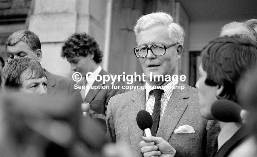 Douglas Hurd, newly appointed Secretary of State for N Ireland, photographed on the occasion of his first Press Conference on the steps of Stormont Castle, Belfast, N Ireland, 27th September 1984, 19840111DH7.Copyright Image from Victor Patterson, 54 Dorchester Park, Belfast, UK, BT9 6RJ<br />