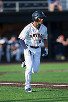 Jason Martin (6) of the Buies Creek Astros hustles down the first base line against the Wilmington Blue Rocks at Jim Perry Stadium on April 29, 2017 in Buies Creek, North Carolina.  The Astros defeated the Blue Rocks 3-0.  (Brian Westerholt/Four Seam Images)