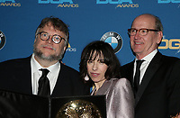 BEVERLY HILLS, CA - FEBRUARY 3: Guillermo del Toro, Sally Hawkins and Richard Jenkins in the press room at the 70th Annual DGA Awards at The Beverly Hilton Hotel in Beverly Hills, California on February 3, 2018. <br /> CAP/MPI/FS<br /> &copy;FS/MPI/Capital Pictures