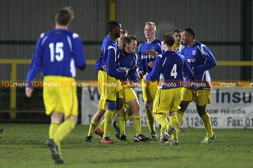 Barking celebrate a late equaliser to make the score 3-3 - Romford vs Barking - Essex Senior Cup 4th Round Football at Ship Lane, Thurrock FC - 05/12/12 - MANDATORY CREDIT: Gavin Ellis/TGSPHOTO - Self billing applies where appropriate - 0845 094 6026 - contact@tgsphoto.co.uk - NO UNPAID USE.