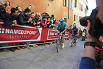 Jakob Fuglsang (DEN) Astana Pro Team leads Julian Alaphilippe (FRA) Deceuninck-Quick Step up Via Santa Caterina in Siena in the last km of Strade Bianche 2019 running 184km from Siena to Siena, held over the white gravel roads of Tuscany, Italy. 9th March 2019.<br /> Picture: Eoin Clarke | Cyclefile<br /> <br /> <br /> All photos usage must carry mandatory copyright credit (&copy; Cyclefile | Eoin Clarke)