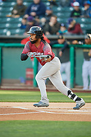 Henry Ramos (51) of the Sacramento River Cats bunts against the Salt Lake Bees at Smith's Ballpark on April 12, 2019 in Salt Lake City, Utah. The River Cats defeated the Bees 4-2. (Stephen Smith/Four Seam Images)